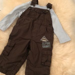 Baby blue brown overalls outfit
